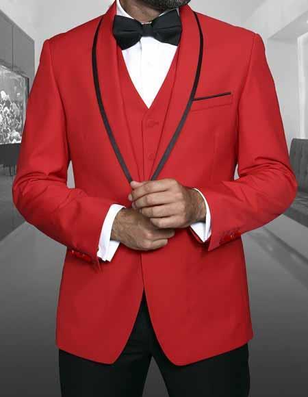 Men's 1 Button Red Shawl Lapel With Trim Sport Coat Dinner Jacket With Trim Blazer