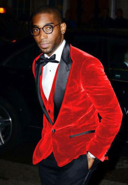 Product# SM5201 Men's Big And Tall Blazers Cheap Velvet ~ Velour Clearance Red Blazer / Sport Coat