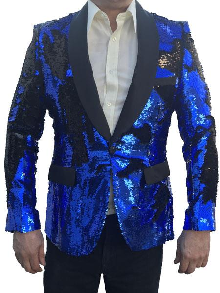 Product# SM5151 Mens Sequin Tuxedo Jacket ~ Flashy Unique Shiny Fashion Prom Blazer Sport Coat Dinner Blazer Royal and Black Perfect For Prom Clothe - Prom Outfits For Guys