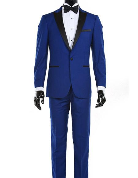 Product# JSM-5809 Mens Royal Blue Suit For Men Perfect  1 Button Single Breasted Black Satin Lapel Tuxedo Suit Clearance Sale Online