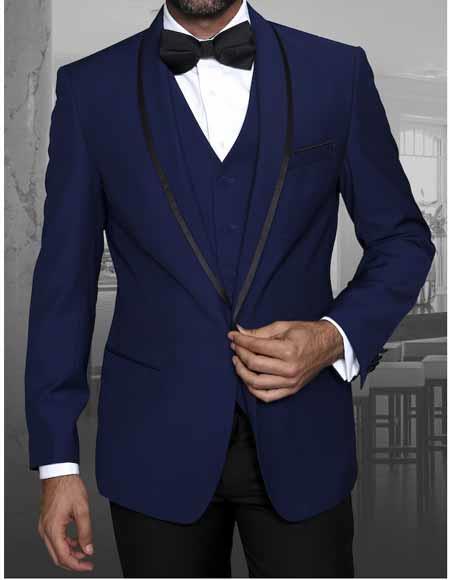 Product# JSM-1304 Men's 1 Button Sapphire Blazer Shawl Lapel With Trim Sport Coat Dinner Jacket With Trim