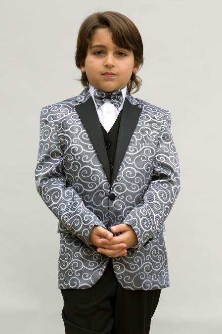 Product# JSM-4900 Men's Single Breasted Silver Colored Notch Lapel Boys Blazer ~ Sport coat + Jacket only