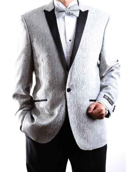 Mens One Button Silver