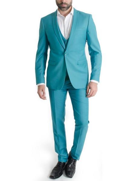 JSM-3824 Men's One Button Narrow Peak Lapel Spring Vested Turquoise Slim Fit 3 Piece Suit Clearance Sale Online
