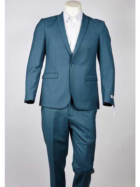 SM975 Slim narrow Style Fit One Button Single Breasted Peak Lapel Turquoise Suit