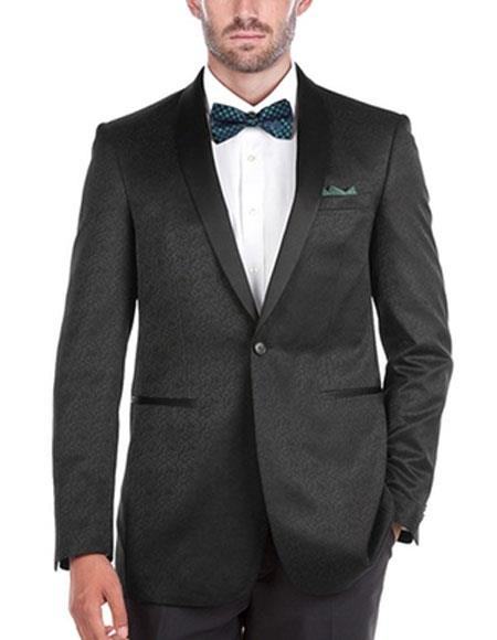 Men's Textured Slim Fit Tuxedo 1 Button Shawl Collar Side Vents Black Jacket