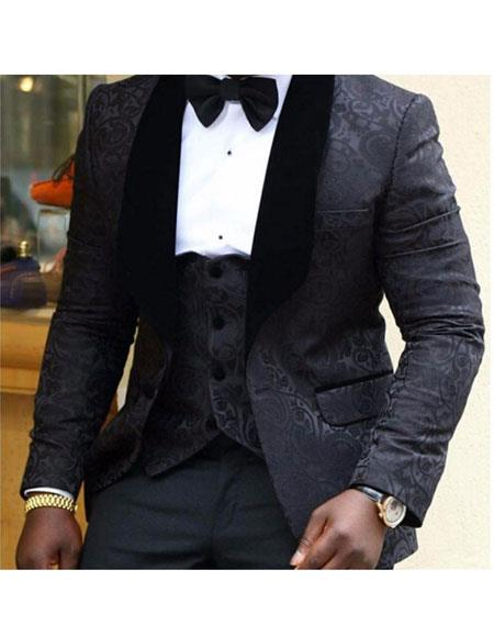 Product# AP777 Mens Black 1 Button Slim Fit Floral Pattern Wedding Groom Tuxedo Party Suit