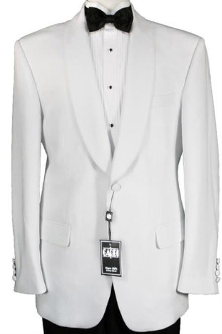 Product# GT-4287 One Button 100% Luxurious Microfiber Fabric White Dinner Jacket
