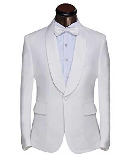 Product# JSM-574 Men's 1 Button White Shawl Lapel Classic Fit Dinner Jacket And Trouser Suit