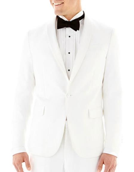 Men's Slim Fit Shawl Lapel 1 Button White Tuxedo Jacket