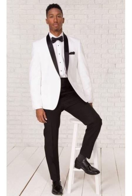 Mens White Shawl Lapel