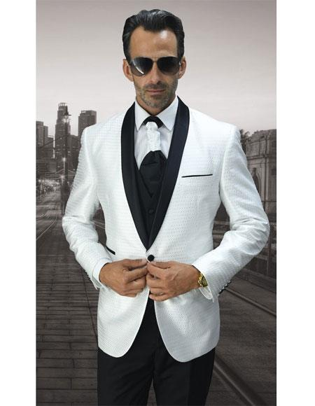 Mens 1 Button White