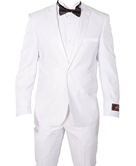 Mens White 1 Button