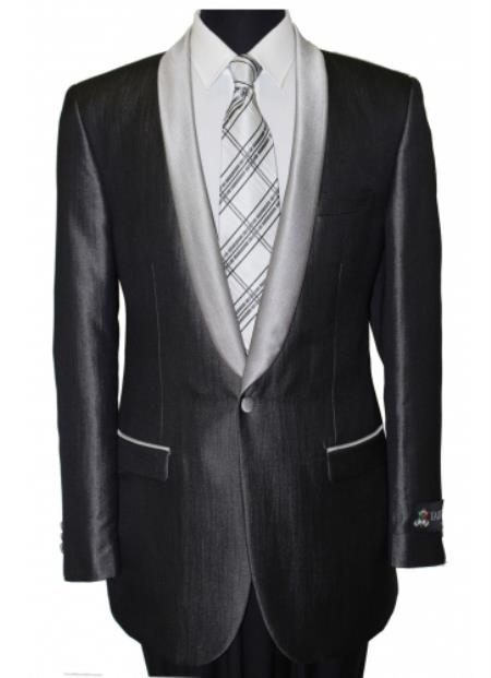 Mens Black Shawl Collar