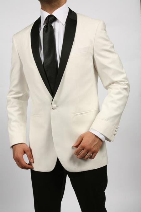 Product# EXW81 Off White~Ivory~Cream & Liquid Jet Black Shawl Tuxedo Dinner Jacket