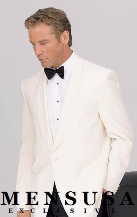 Product# 8467C 1 Button Style Shawl Lapel Dinner Jackets - Ivory (Cream ~ Ivory ~ Off White)100% Tropical Wool Fabric