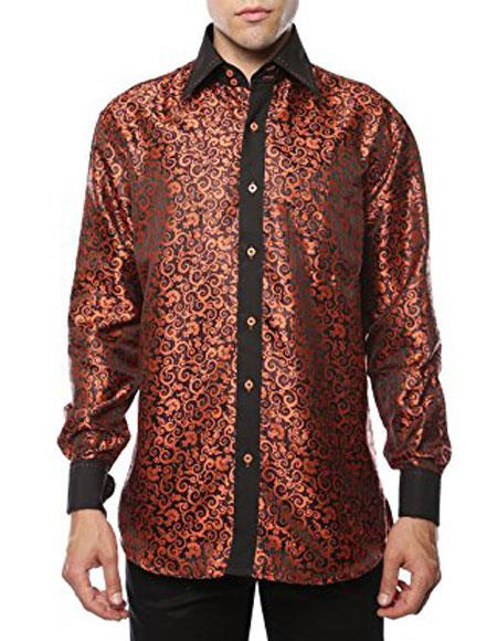 Product# JSM-3494 Men's Shiny Satin Floral Spread Collar Paisley Dress Shirt Flashy Stage Colored Two Toned Woven Casual Orange-Black