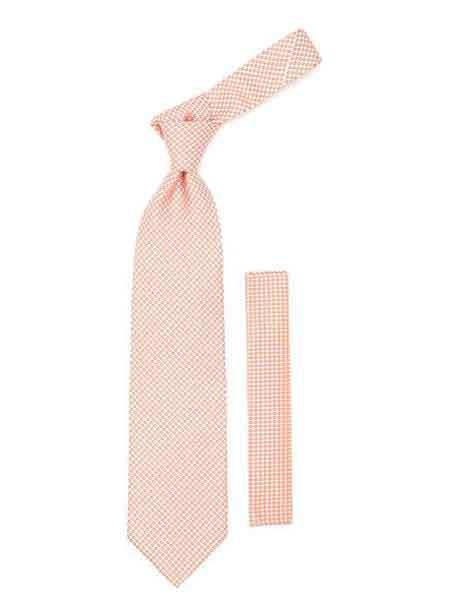 Orange Geometric Design Necktie