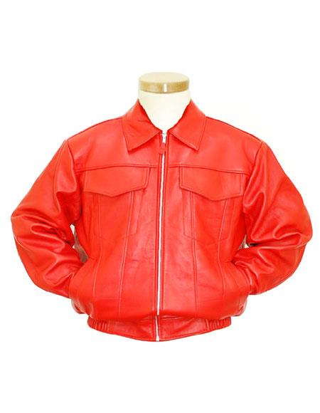 Product# GD1001 G-Gator Men's Orange Genuine Lambskin Leather Zipper Jacket