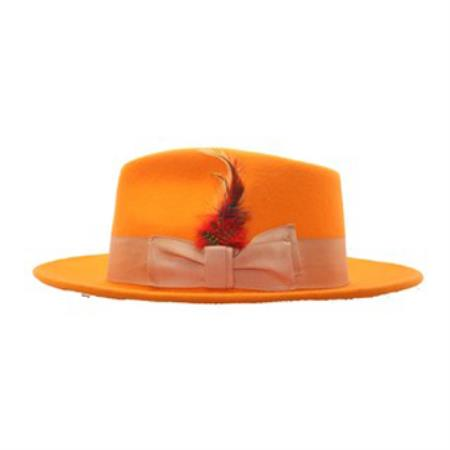 Orange Wool Fabric Fedora
