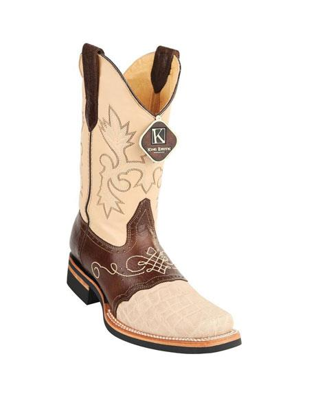 3012426662f Product# JSM-4876 Men's King Exotic Square Toe Genuine Elephant Skin Oryx  Boots Handcrafted