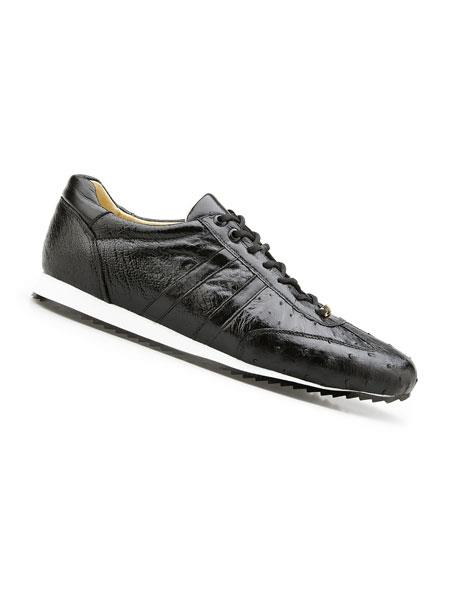 Mens Genuine Ostrich Black