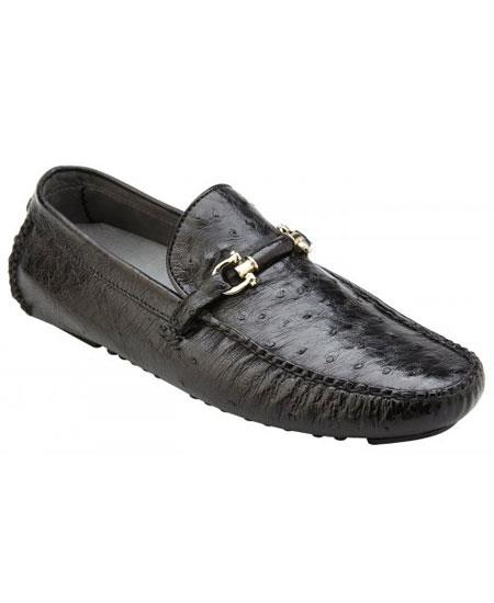 Product# GD1735 Men's Slip On Genuine Ostrich ~ Calfskin Black Leather Casual Sneakers
