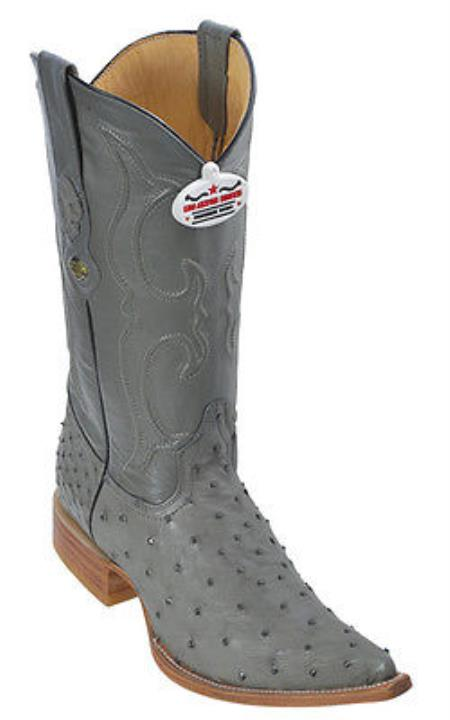 Product#KA8699 Full Quill Ostrich Leather Gray Authentic Los altos Western Boots Cowboy Fashion