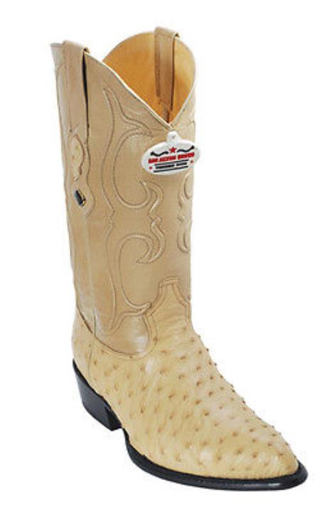Product#KA8662 Full Quill Ostrich Leather Beige Authentic Los altos Cowboy Boots Western Rider Style