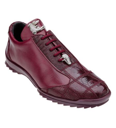Product# JSM-1241 Belvedere Ostrich Skin Casual Exotic Burgundy Sneaker