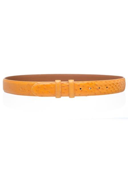 Product# JSM-4739 Men's Smooth Buttercup Genuine Ostrich Quill Skin Belt