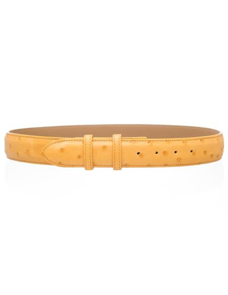 Product# JSM-4758 Men's Genuine Buttercup Full Ostrich Quill 1 1/2'' width Belt
