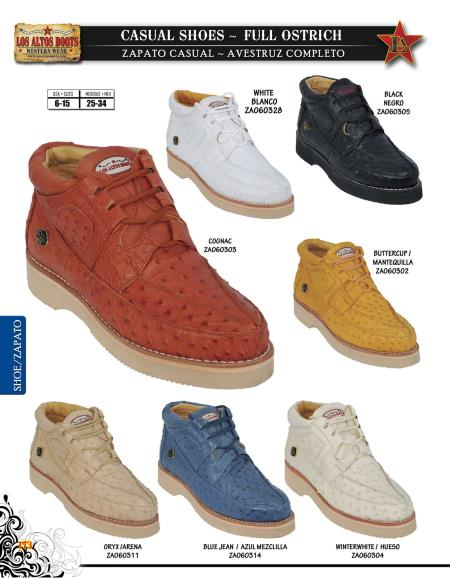 Product# SXD9 High Top Exotic Skin Sneakers for Authentic Los altos Full Genuine Ostrich trendy casual Shoe Diff. Colors/Sizes