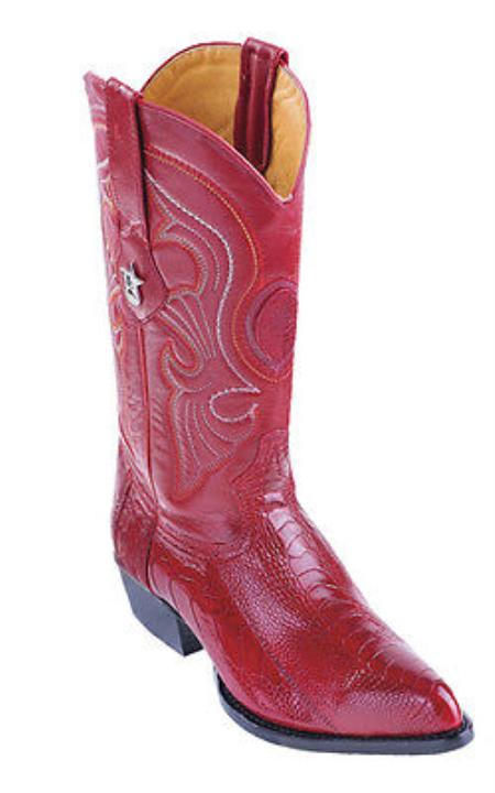34b6036dc23 Product# KA2003 Ostrich Leg Vintage red color shade Authentic Los altos  Western Boots Cowboy Classics Rider