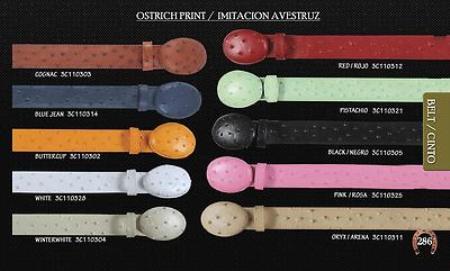 Ostrich Print Cowboy Belt