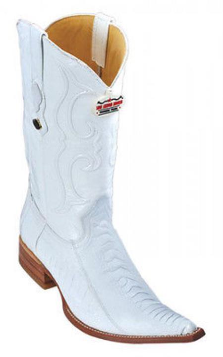 Ostrich Leg Leather White