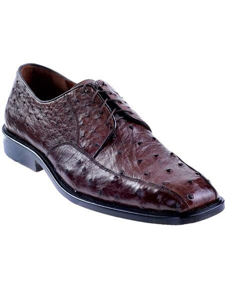 Product# JSM-4938 Men's Brown Genuine Ostrich Oxfords Style Los Altos Dress Shoes