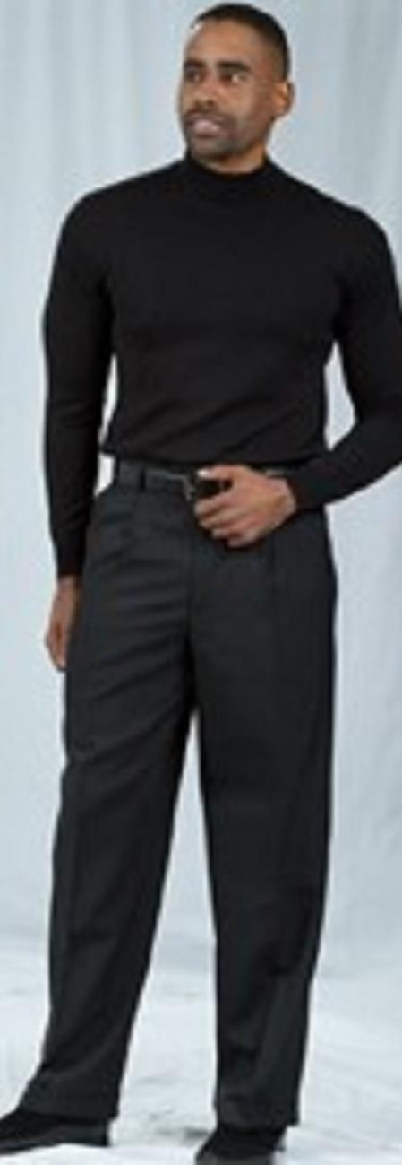 Pacelli Pleated Baggy Fit Black Dress Pant 1920s 40s Fashion Clothing Look !