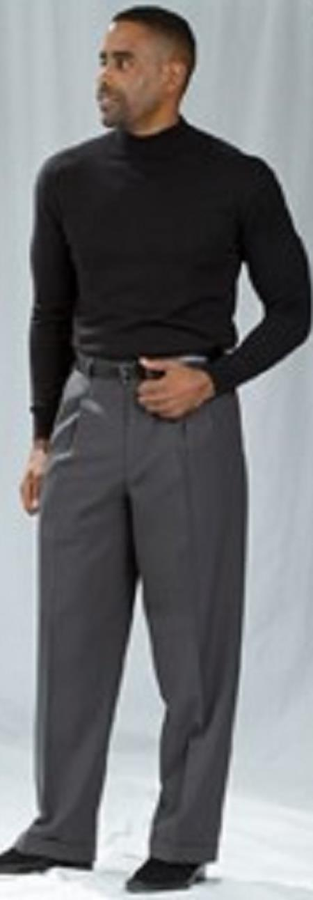 Pacelli Pleated Baggy Fit Charcoal Dress Pants 1920s 40s Fashion Clothing Look !