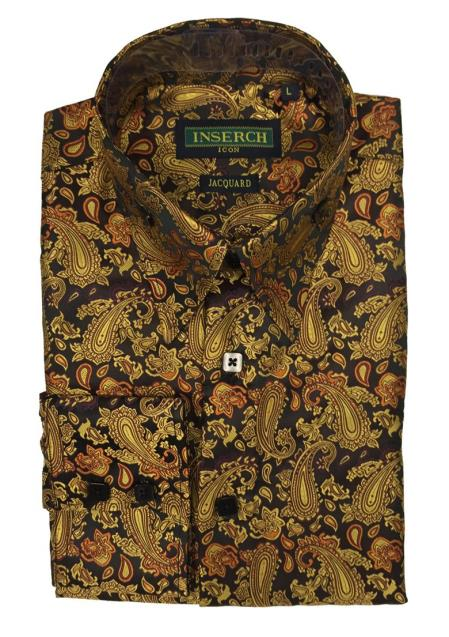 Mens Paisley Pattern Collared