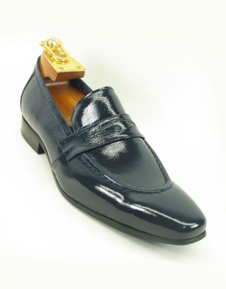 Product# SM5181 Carrucci Men's Patent Leather Slip On Style Loafer Navy Shoe
