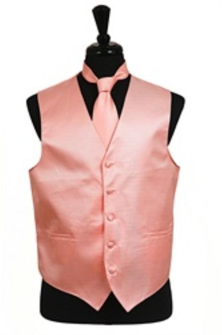 Product# VS2030 Horizontal Rib Pattern Vest Tie Set Peach