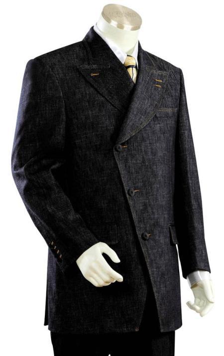 men's Victorian Victorian Side Buttoned Denim Flap Pocket Black Zoot Suit