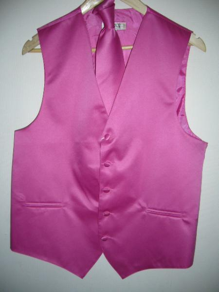 Product# KA1302 - HOT PINK ( FUESHA ) VEST & TIE SET