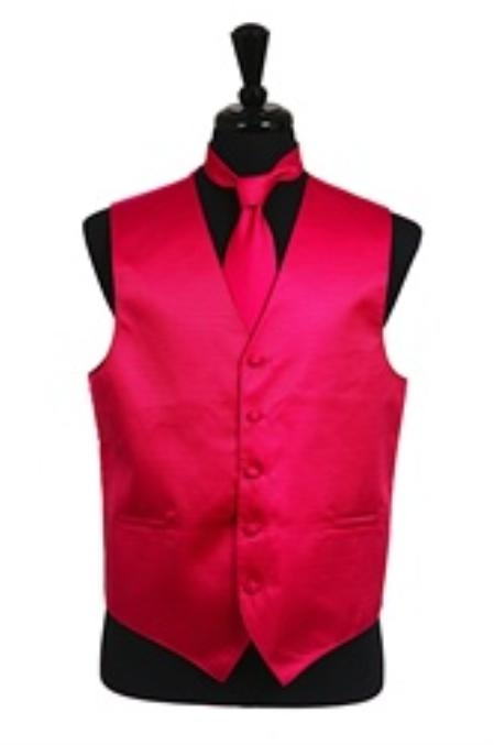 Product# VS2026 Horizontal Rib Pattern Vest Tie Set Hot Pink
