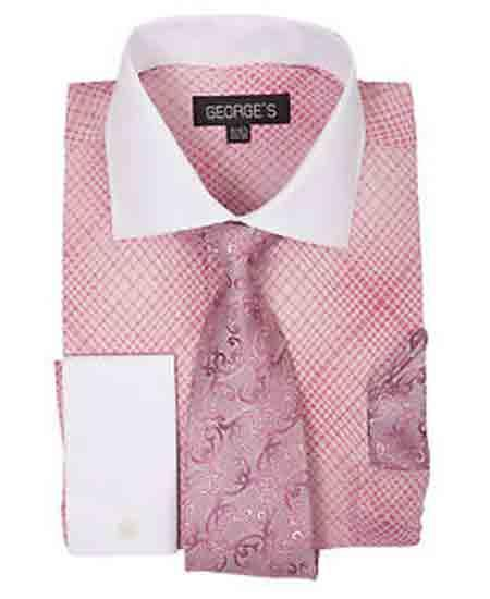 French Cuff Mini Plaid/Checks Rose Pink Dress Shirt With Tie And Handkerchief