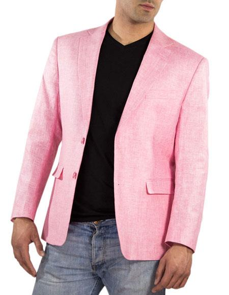 Men's One Ticket Pocket Thread & Stitch 100% Men's 2 Piece Linen Causal Outfits Pink Blazer / Beach Wedding Attire For Groom Perfect For Prom Clothe - Prom Outfits For Guys
