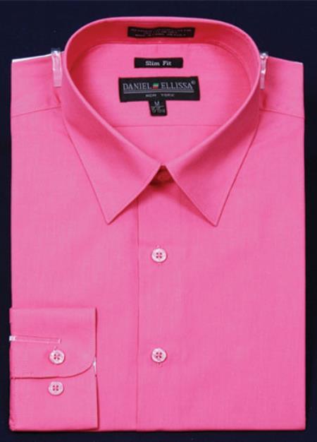 Product# KA6690 Slim narrow Style Fit Dress Shirt - fuchsia ~ hot Pink Color