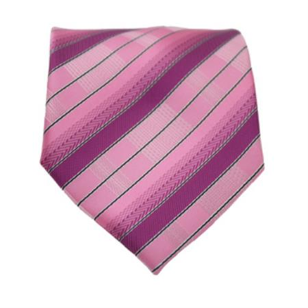 Product# KA3334 Pink Striped Neck Tie and Handkerchief Set
