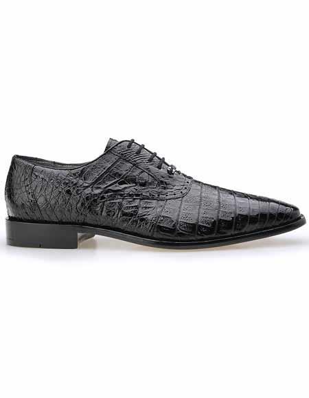 Men's Belvedere All Over Laceup Plain Toe Crocodile Skin Black Shoes
